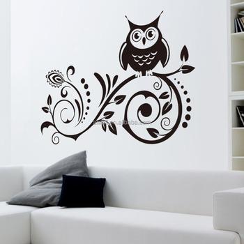 8239 Karakter Art Owl Wall Stiker Dinding Decals Papan Tulis Wall
