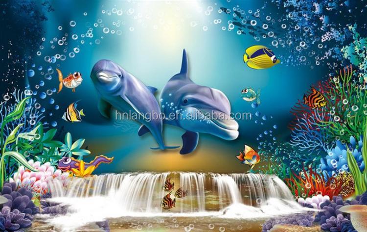 3D Unterwasserwelt Shark Tapete Wandbild Dekoration Wohnzimmer Aquarium  Sofa Hintergrund Wandbild