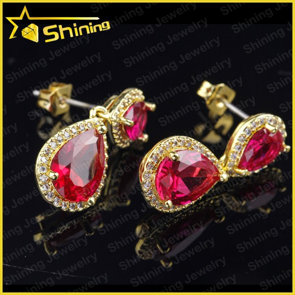 factory direct sell Indian gold ruby zirconia silver 925 drop earrings