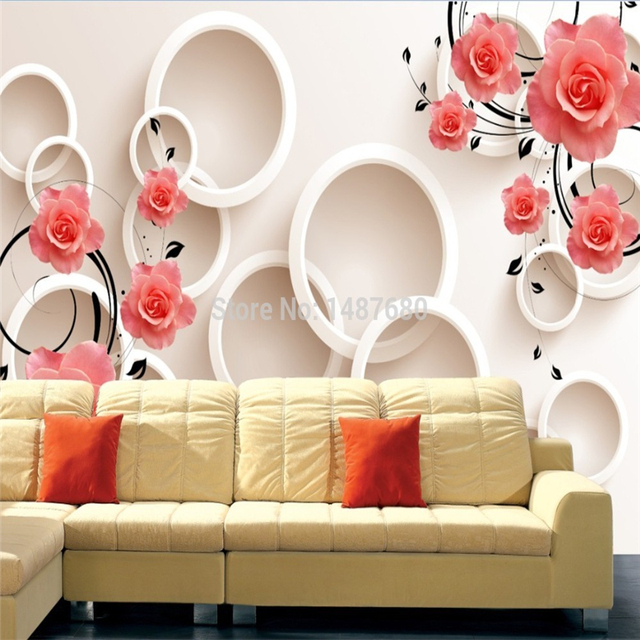 Acquista rose fiori murali carta da for Carta da parati moderna in 3d