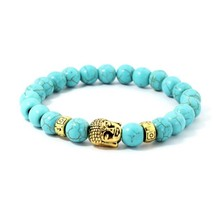 Natural Turquoise Stone Beaded Bracelet Men Gold Buddha Head Charm Bracelet