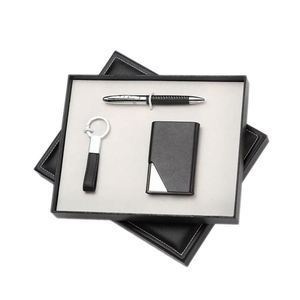 Custom Logo Corporate Anniversary Opening Ceremony Giveaways Business Leather Notebook Card Holder Key Chain Pen Gift Set