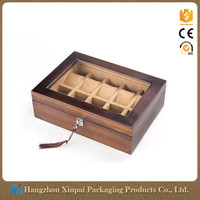 High Quality Cherry Wood 10 Slot Watch Display Box With Glass Lid