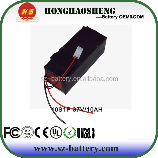 HHS high quality factory price rechargeable 37v 10ah lithium battery