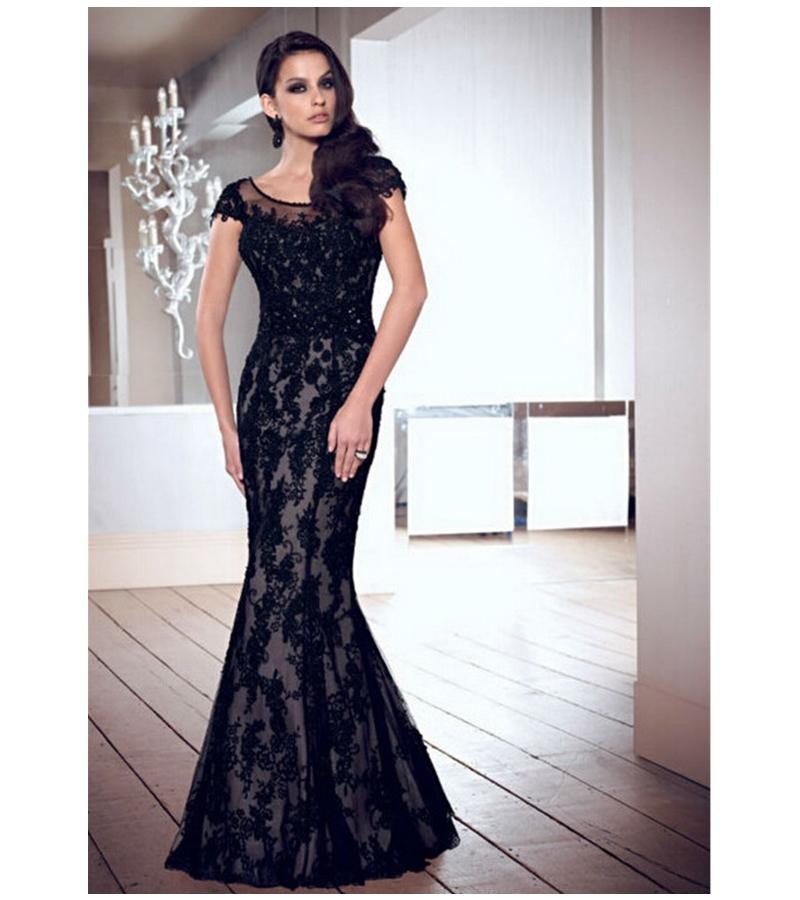New 2015 Elegant Black Long Prom Dresses Short Sleeve . 28d603440