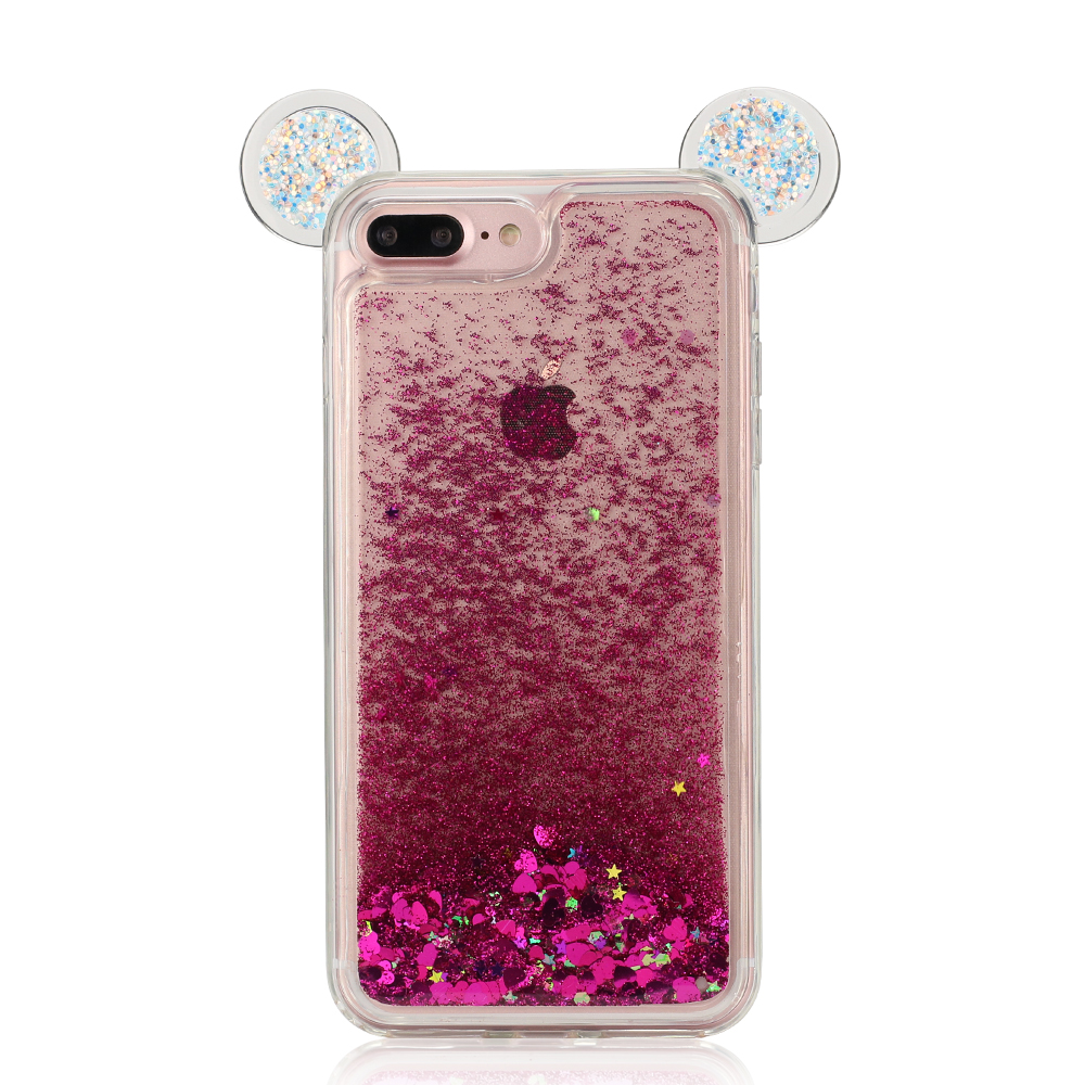 mobile phone <strong>accessories</strong> for iphone 7 case tpu liquid glitter mickey mouse bling phone case