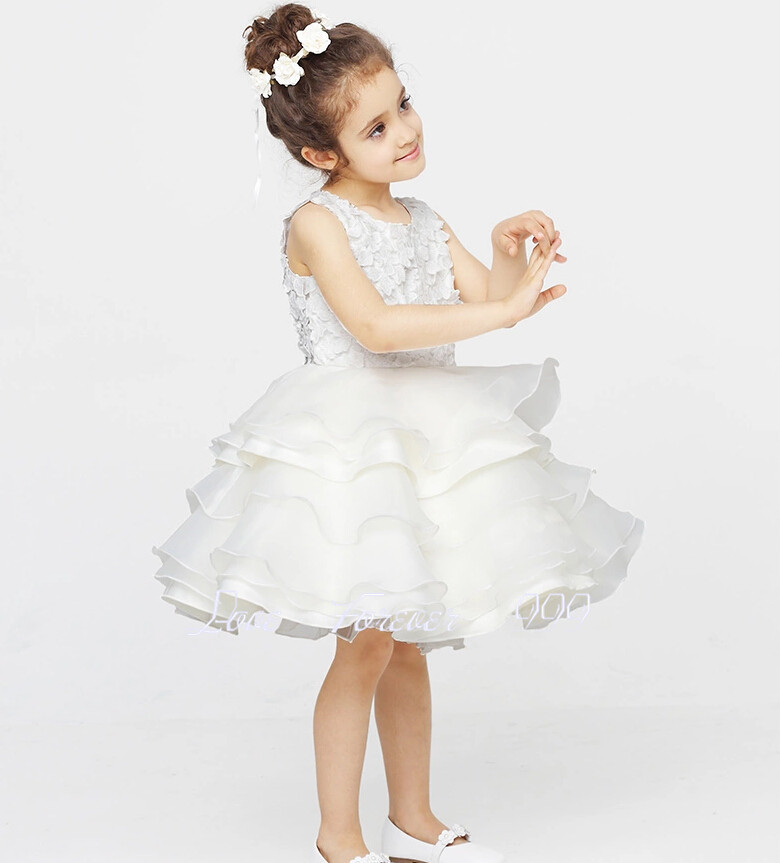 1d19c9ae2f8 Get Quotations · New Spring Sleeveless Appliques Tiered Flower Girl Dresses  Short Princess White First Communion Dresses Dama De