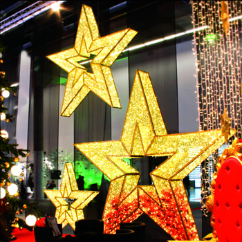 3d hanging giant led star christmas lights for hotel shopping mall hall ceiling decoration