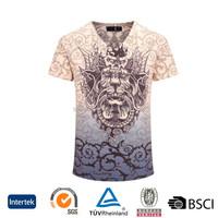 wholesale promotional OEM fashion style 3d sublimation printed comfort 100 % cotton men t shirt