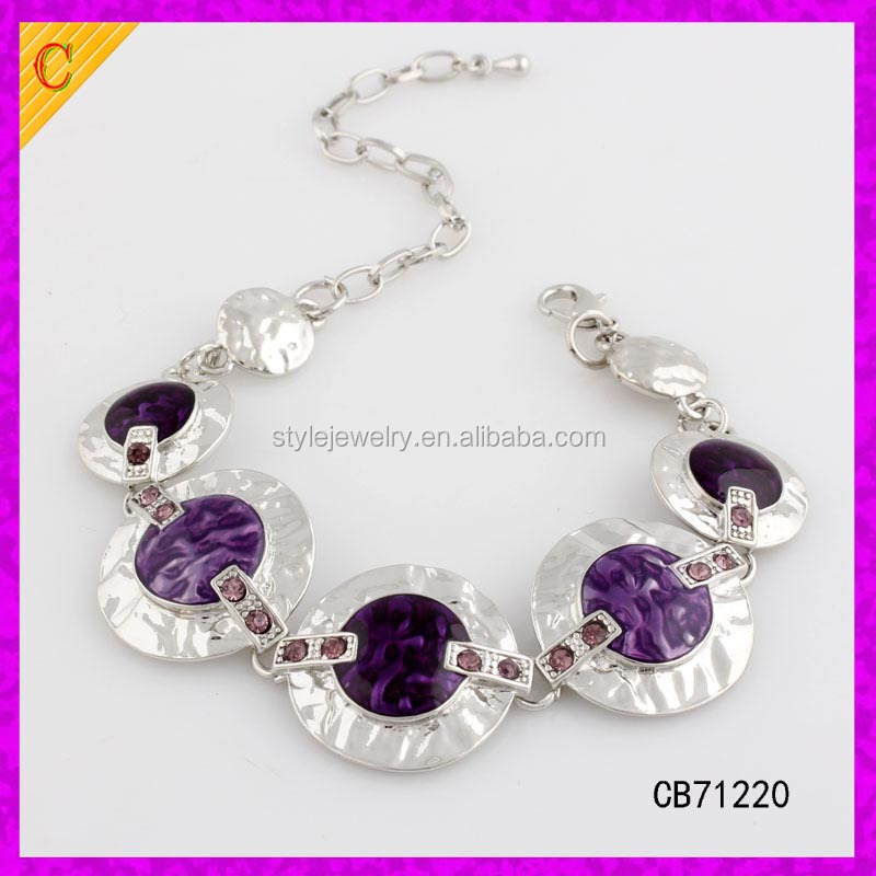 CB71212 New style fashion Real Silver Plated Flower Patterned Enamel Bracelet for Women 7.2""