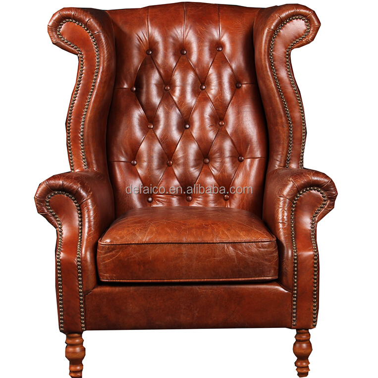 Deconstructed Studded High Back Leather Wing Chair   Buy Modern High Back  Wing Chair,High Back Leather Wing Chair,Studded Leather Wing Chair Product  On ...