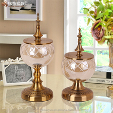 Light brown metal lid high quality mosaic glass flower vase with metal stand for home decor items wholesale price