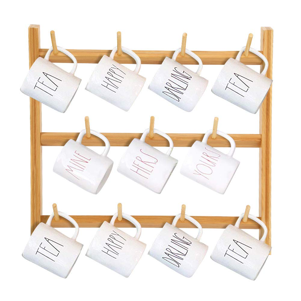 3 tier bamboo cup rack wall mounted cup holder for high quality