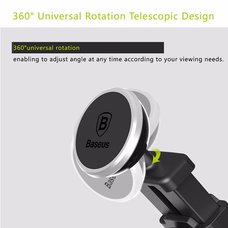 Retail | BASEUS Universal Telescopic Magnetic Car Mount Mobile Phone Stand Holder 360 Rotation For iPhone Samsung | Silver