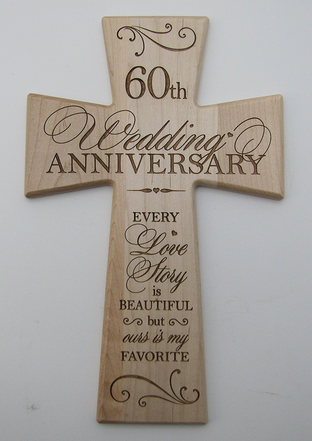 Buy 60th Wedding Anniversary Maple Wood Wall Cross Gift For Couple