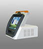 touch screen desktop kiosk with printer and barcode reader