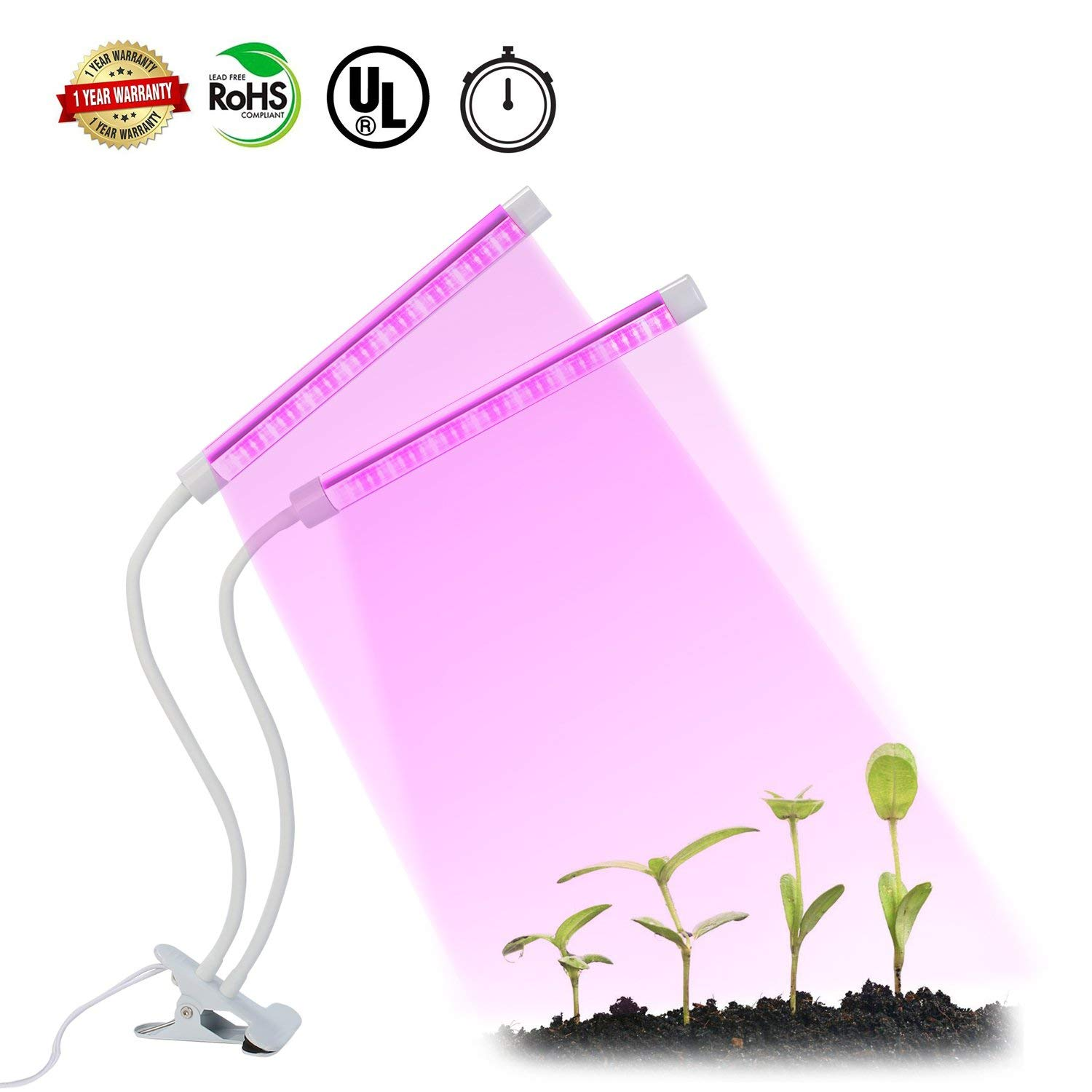 Grow Light, Grow Lights for Indoor Plant, 64 LEDs Plant Grow Light Bulb, 360° Flexible, 3/6/12H Timer, 4 Dimmable Levels& 3 Switch Modes Hydroponics Greenhouse Gardening Plant Growing Lamp
