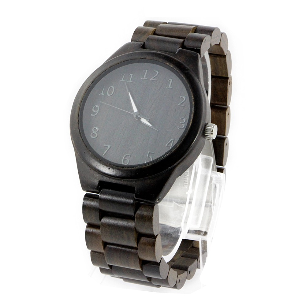 Wholesale fashion bamboo men custom logo we wood wrist watch cheap handmade leather strap and for Cheap watches