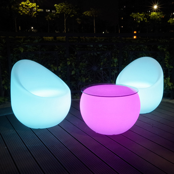 Plastic Illuminated Led Round Lounge Table