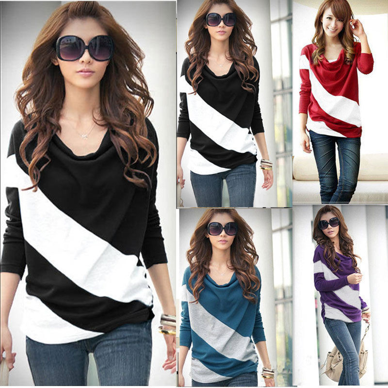d022340d2 Fashion New Womens Girl Casual Batwing Stripe Top Loose Long Sleeve T-Shirt  Blouse 4 Size