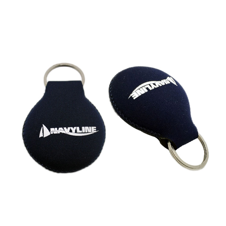 Custom key fob holder chain neoprene floating key ring promotion printed logo with metal ring