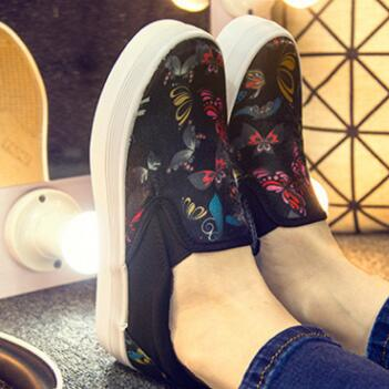 2017 Spring Women Canvas Shoes For Casual Slip On Fabric Flats Shoes Student Leisure Footwear Loafers