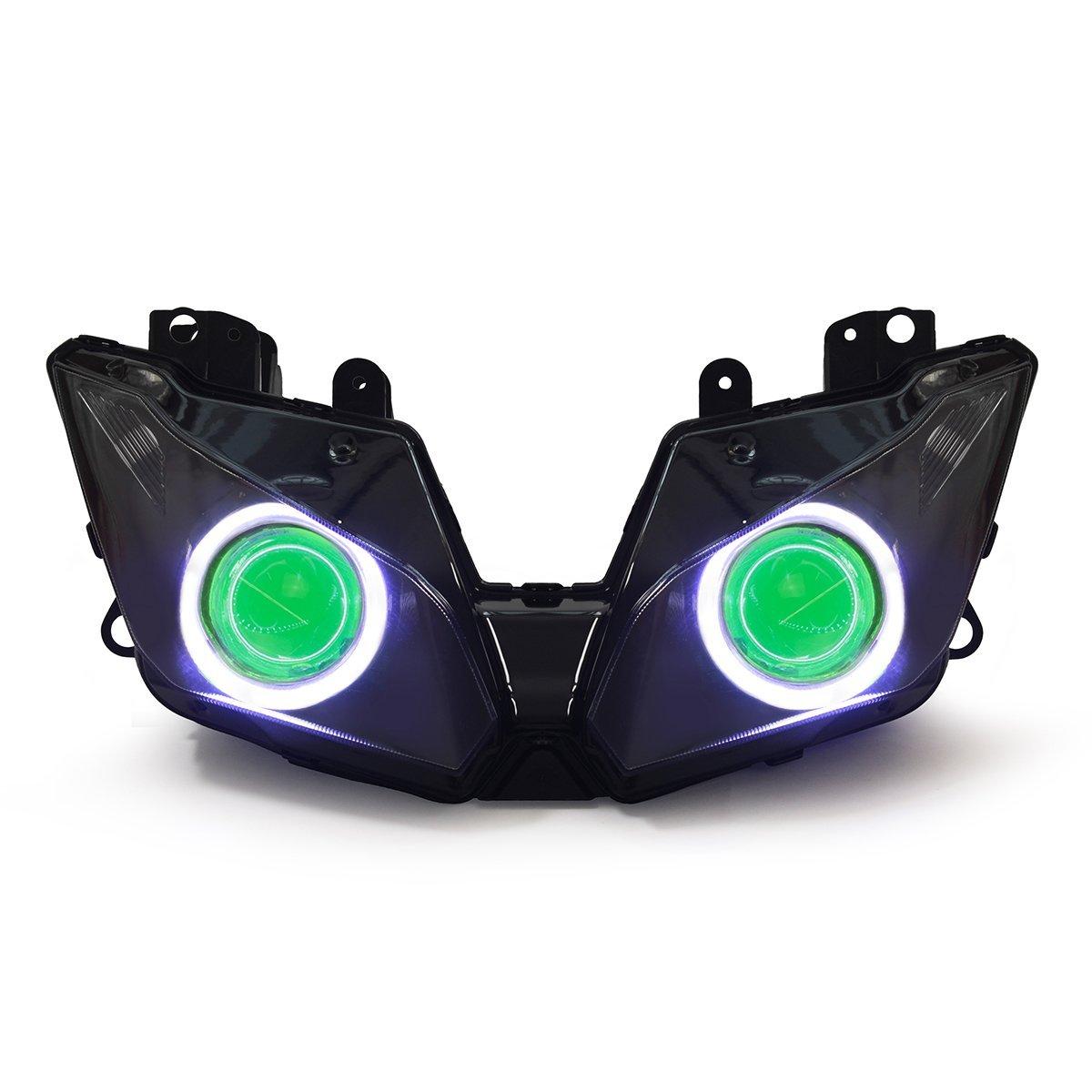Buy Kt Led Angel Eye Headlight Assembly For Kawasaki Ninja 300 Green 250 2013 2017 V1