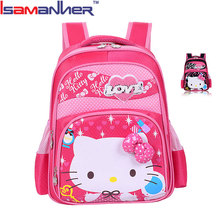 Cute kids cartoon backpack, trendy kids hello kitty school bag with two colors