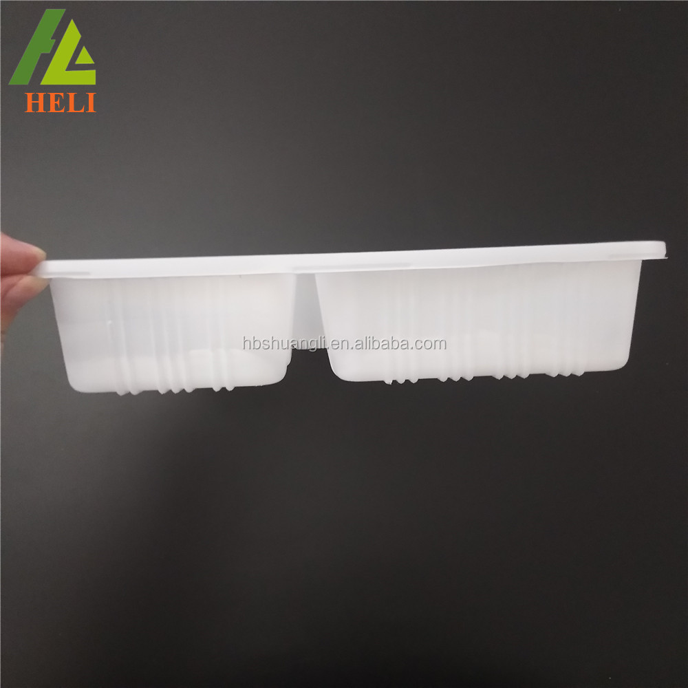 Custom Rectangular coverd White color disposable plastic divided food tray