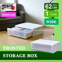 Plastic storage box 62cm Japan made stack kitchen living closet garage basement storage transparent book cover Clear chest C6201