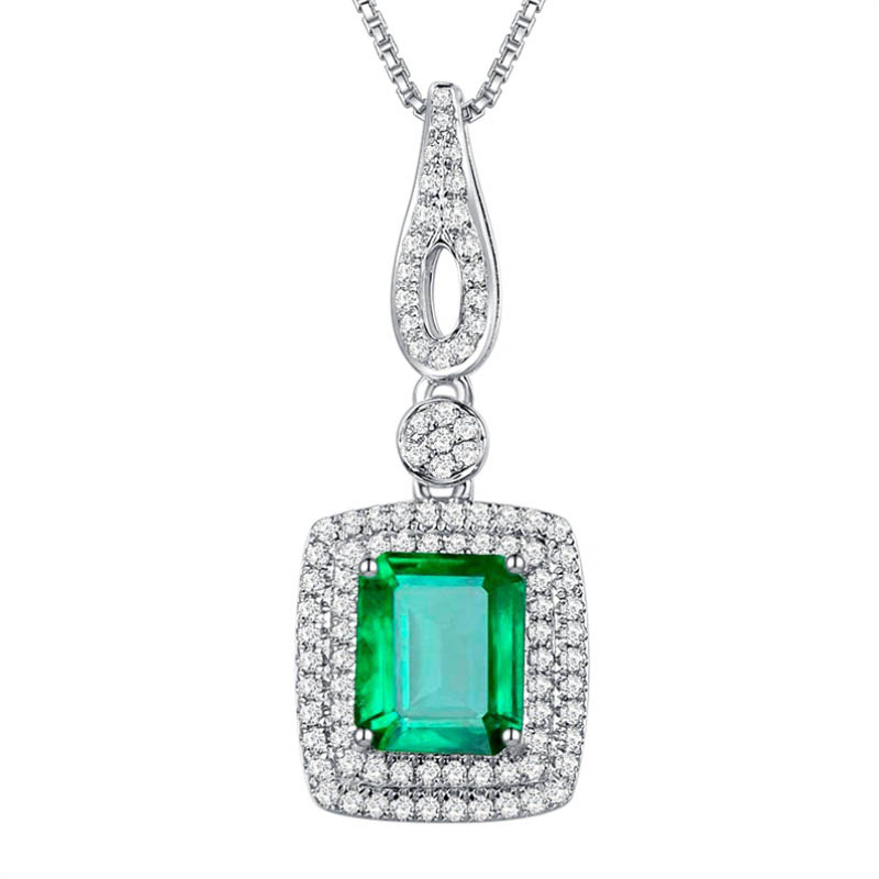 solitaire emerald halo diamond natural p pendant full item gold