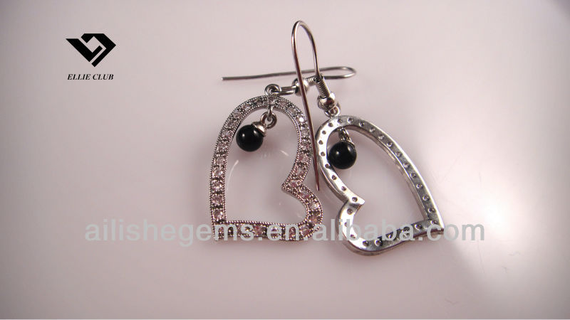 heart shaped wholesale cz gems earring jewelry for girl/lady