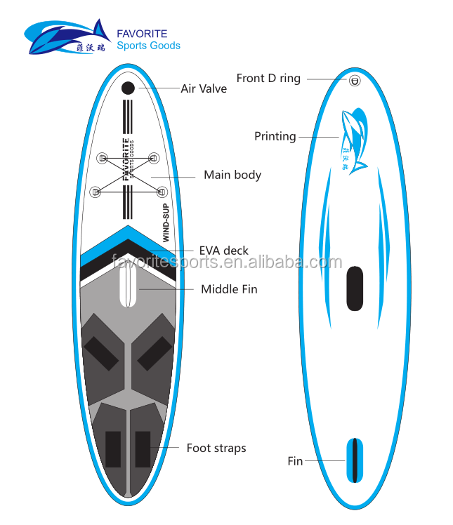 FAVORITE inflatable windsurf sup paddle board with sailing
