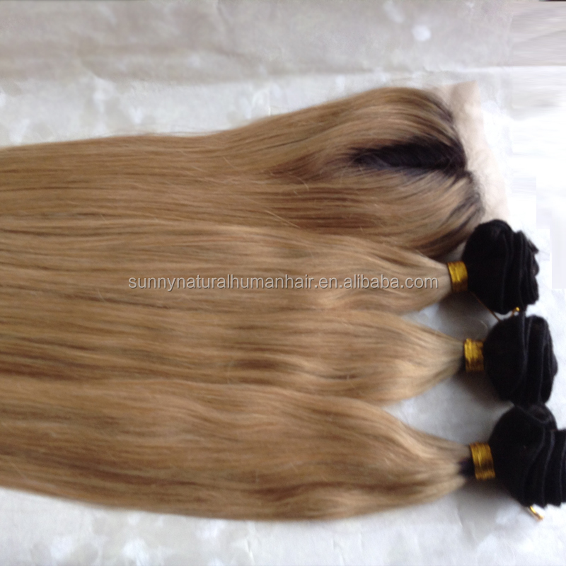 ombre honey blonde bundles with closure straight silk base closures with hair weave 1b 27 brazilian hair closure with bundles