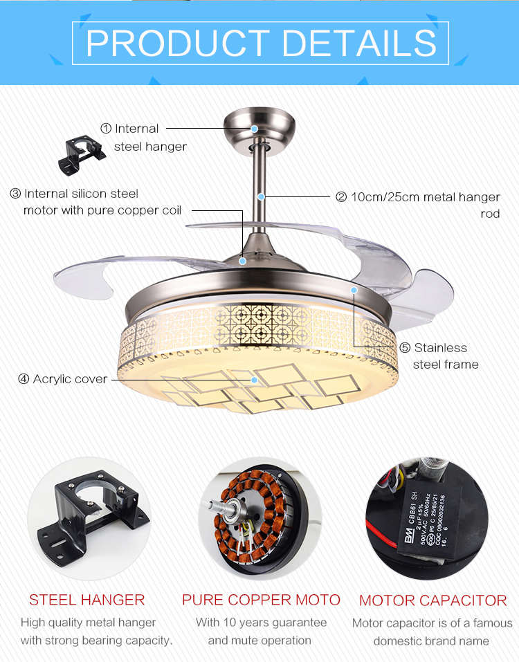 Best Selling hidden Blade 220V led light ceiling fan light