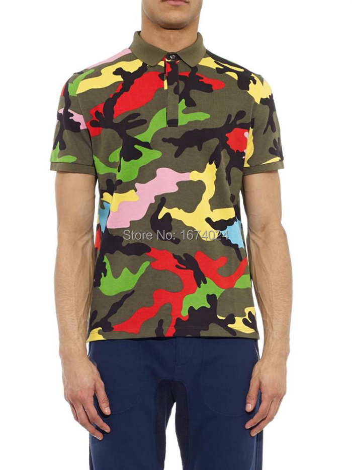 Get Quotations · 2015 Italian Luxury Brand Camouflage Print Polo Shirt Chic  Men's Multicolor Camo Print Polo shirt Vintage