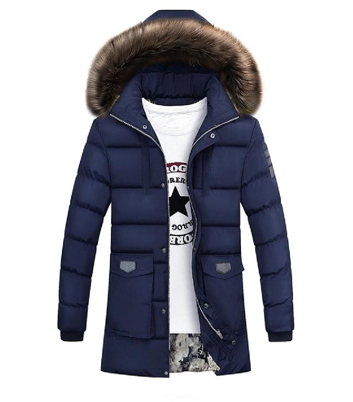 Abetteric Mens Long Wool Windproof Winter Outdoorwear Down Coat Jacket