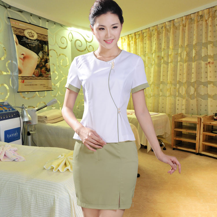 10sets free ship beauty set clothes chinese style work for Spa uniform china