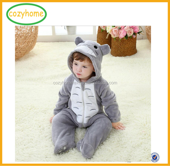 750b17894 Longsleeve Coral Fleece Baby Zipper Romper With Tail Cute Winter ...