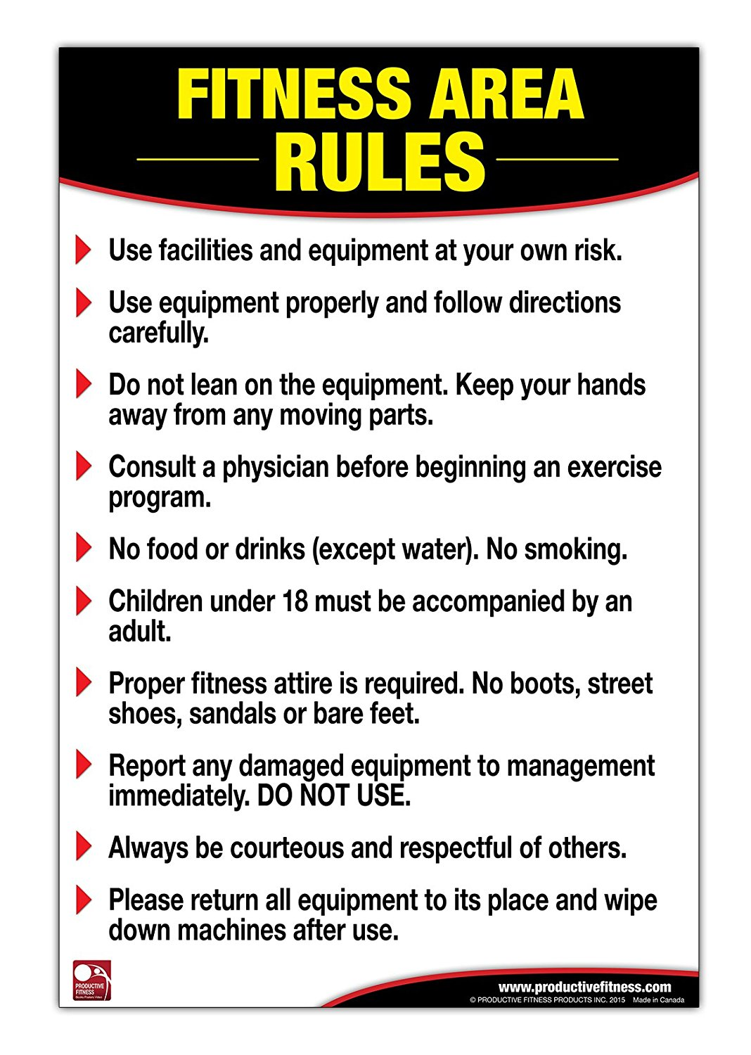 Buy Fitness Area Rules Poster/Chart: Gym Safety Rules Poster