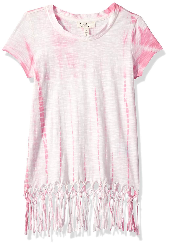 Jessica Simpson Big Girls' Nova Tie Dye S/s Fringe Tee GRL
