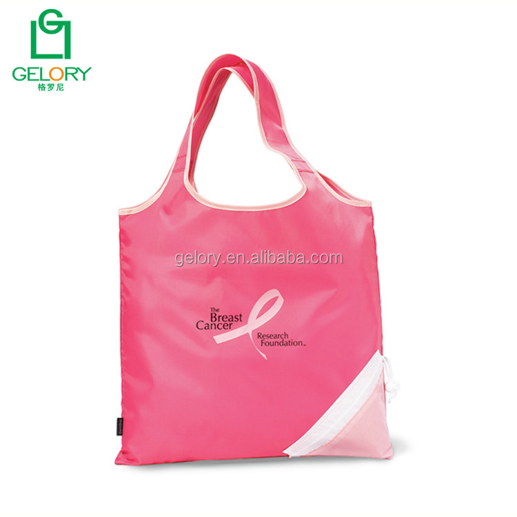 Customized Polyester PVC Free foldaway Shopper Tote Bag Fold-up Grocery bag
