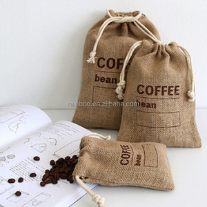 Hot eco-friendly custom printing waterproof drawstring jute coffee bag