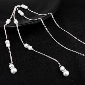 Hot-selling bridal jewelry Diamond-studded pearl pendant fringed back chain Bridal necklace