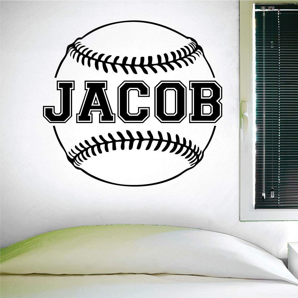 Custom Baseball Name Wall Decal, 0124, Personalized Baseball Name Wall Decal, Girls Softball, Boys Baseball, Custom Name