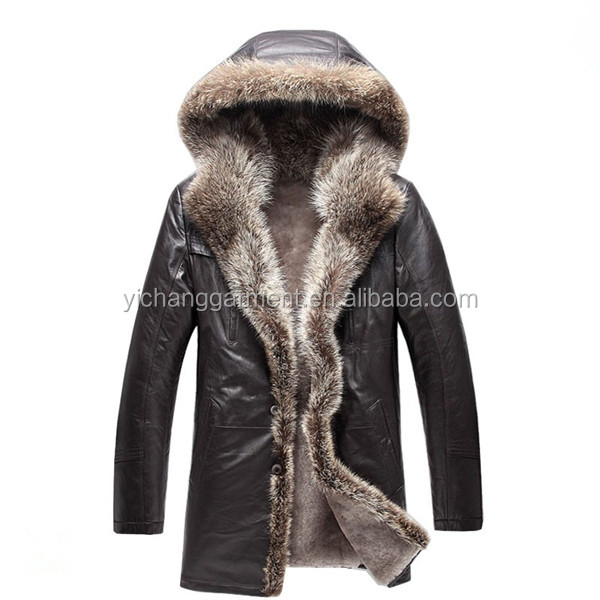 Men Sheepskin Leather with Raccoon Fur Trim Coat
