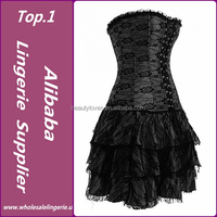 hot design top quality elegant ladies fashion lace up beautiful gothic black corset and skirt set