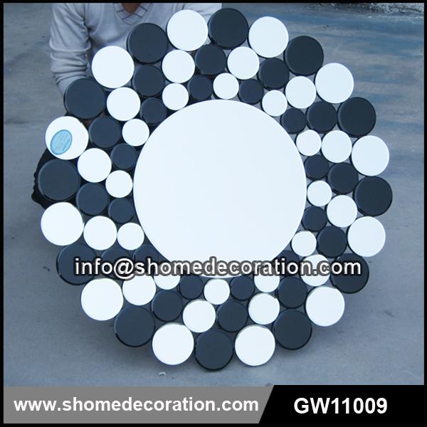Zwart wit decoratieve badkamer opgehangen muur spiegel spiegels product id 60330614323 dutch - Deco toilet zwart ...