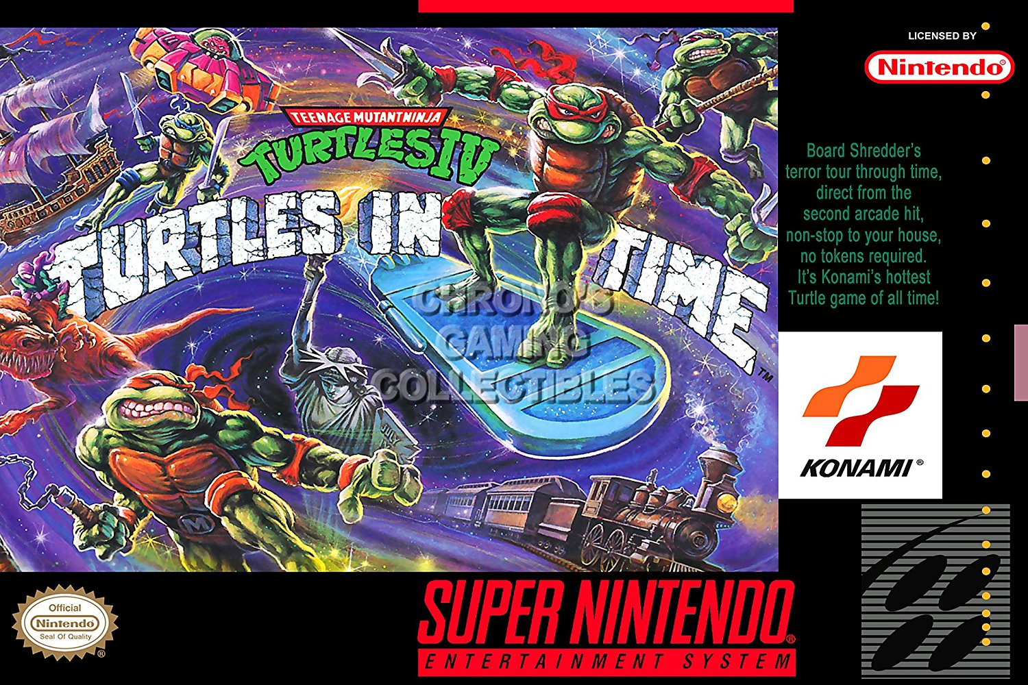 Turtles in time snes box art | Tmnt iv turtles in time box only snes