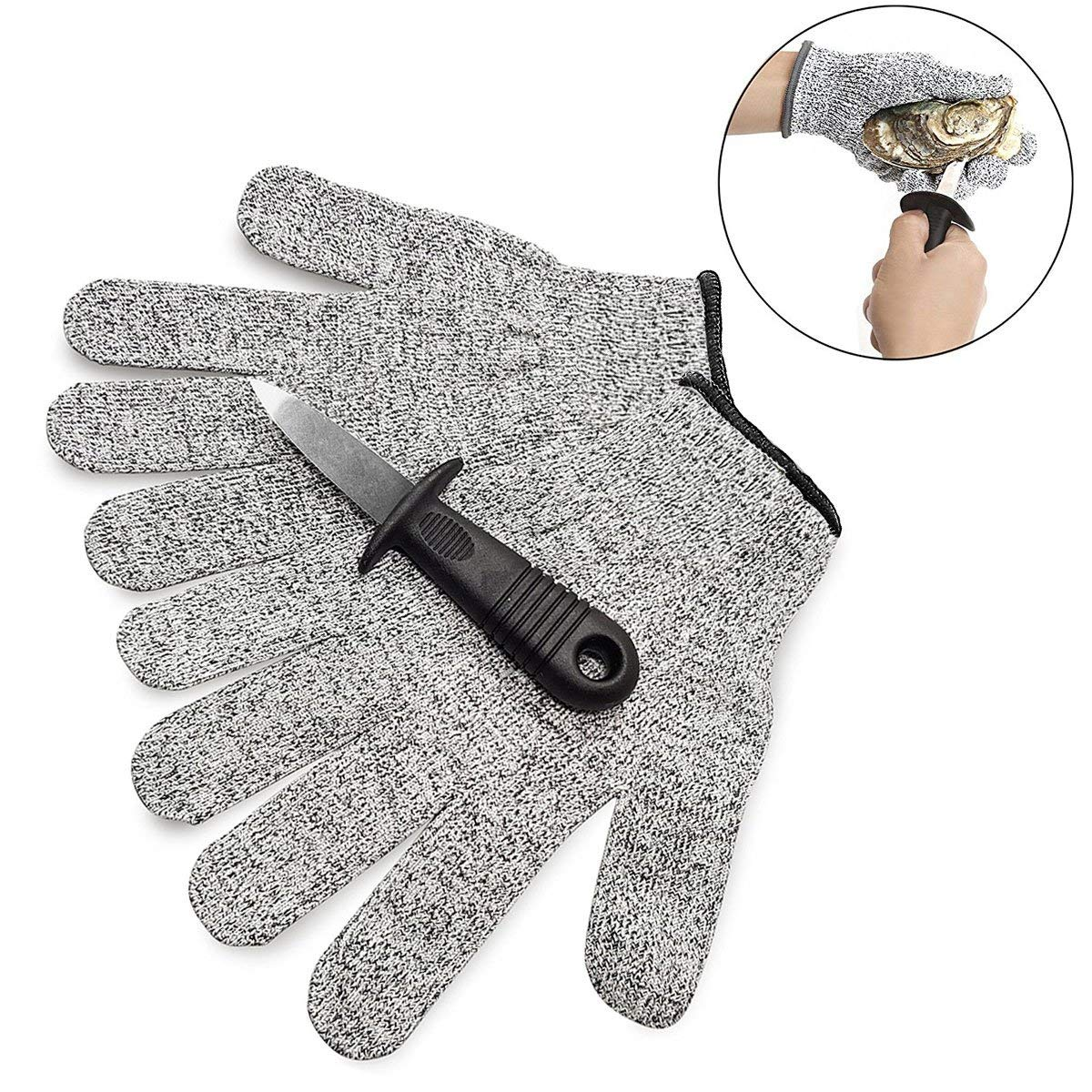 "Oyster Shucking Knife & Cut Resistant Gloves Set Level 5 Protection-2.4"" Oyster Shucker Opener Tool Kit, Stainless Steel Clam Shellfish Seafood Opener with Non Slip Handle."